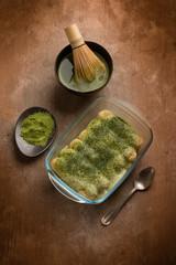 tiramisu with matcha tea