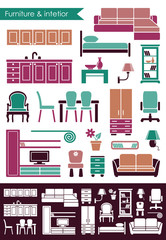 Furniture and interior icons in flat style