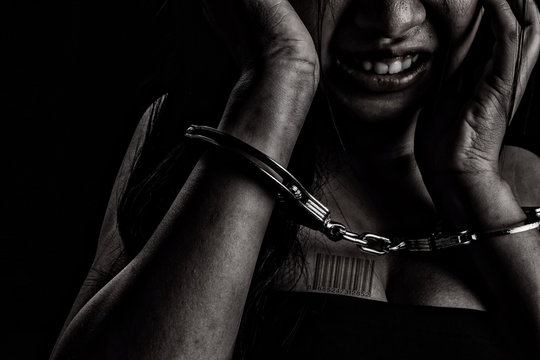 Human trafficking, Stop abusing violence woman, slave..