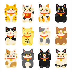 Japanese lucky cat character icon set. flat design style vector graphic illustration