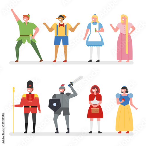 fairy tale story hero characters  flat design style vector