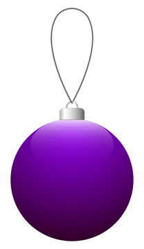 Purple glass Christmas ball on the string. Vector EPS 10