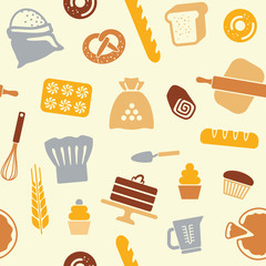 Seamless pattern on the theme of baking. Vector illustration