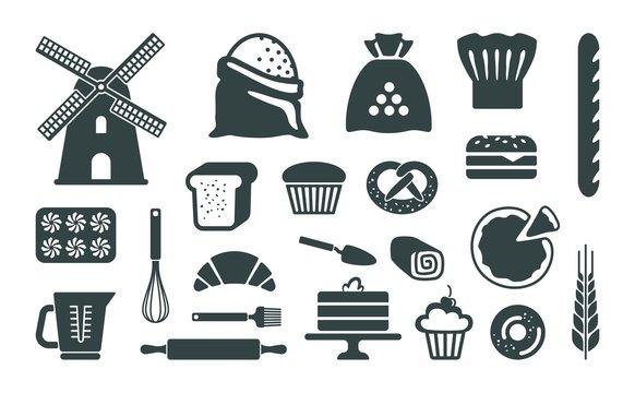 Set of flat bakery icons. Vector illustration