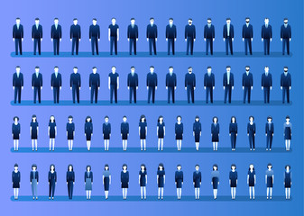 Set of businessmen and businesswomen in flat style. People in various office clothes stand in the front in blue color.