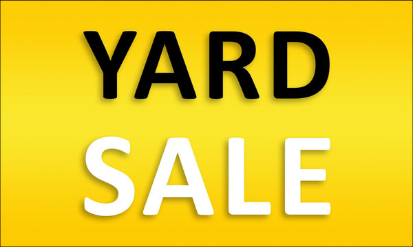 Yard Sale - Golden business poster. Clean text on yellow background.