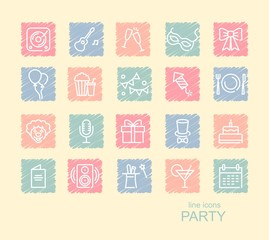 Set of Party Related Vector Line Icons on spots drawn with crayons