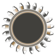graphic style pencil circular frame in gold silver on white