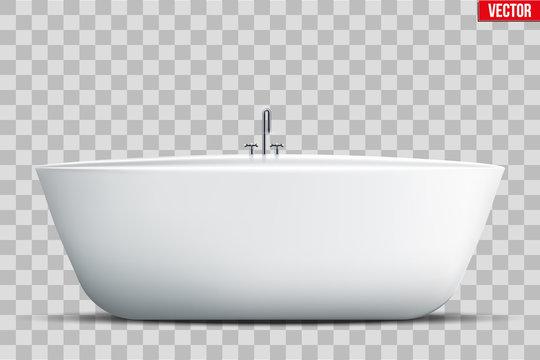 Modern bath isolated on transparent background. Element for design bathroom. Vector Illustration