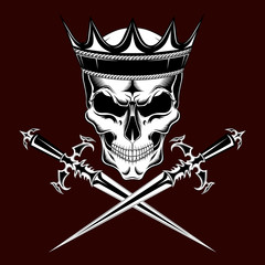 Skull in the crown with daggers.