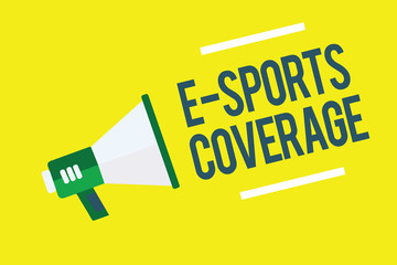 Writing note showing E Sports Coverage. Business photo showcasing Reporting live on latest sports competition Broadcasting Megaphone yellow background important message speaking loud