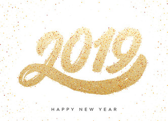 Happy New Year 2019. Greeting card.