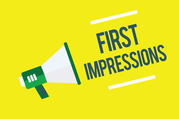 Writing note showing First Impressions. Business photo showcasing What a person thinks of you when they first meet you Megaphone yellow background important message speaking loud