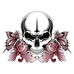 Skull with peonies and butterflies on a white background. Vector image.