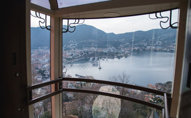Amazing view on Lake Como from Funicular. Brunate, Como, Italy