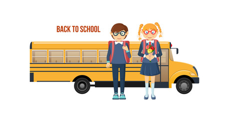 Back to school. School childs, with backpacks going to classes.