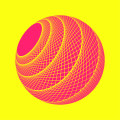 isolated graphic web sphere in pop pink on yellow