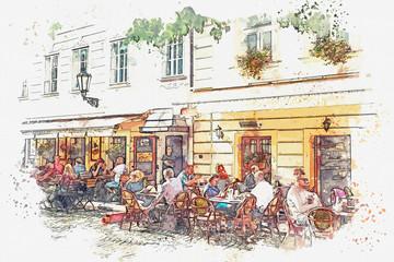 illustration of a street cafe in Prague. People rest together and eat.