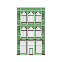 Beautiful detailed linear cityscape collection with townhouses. Small town street with victorian building facades. Template for web, graphic, game and motion design. Vector illustration