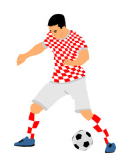Croatian soccer player in action vector illustration isolated on white background. Football player battle for the ball and position. Member of Croatia national team.