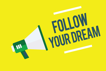 Writing note showing Follow Your Dream. Business photo showcasing Keep track on your goals Live the life you want to be Megaphone yellow background important message speaking loud