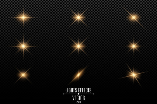 Collection of flashes, lights and sparks. Optical flares. Abstract golden lights isolated on a transparent background. Gold flashes and glares. Vector illustration