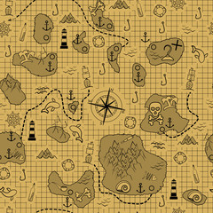 Pirate map. Old map with islands, ships and different marine elements.
