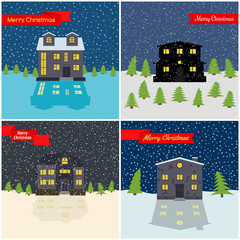 Set of four New Year vector illustration