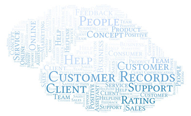 Customer Records word cloud.