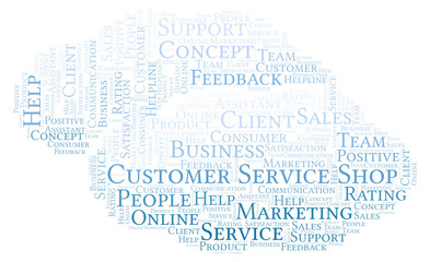 Customer Service Shop word cloud.