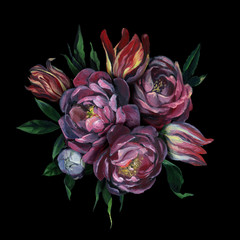 Bouquet of different flowers and leaves on dark background for greeting and wedding cards.