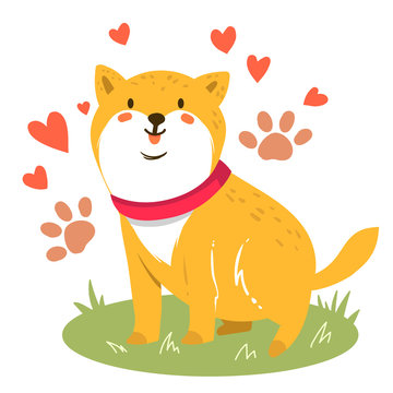 Cute funny cartoon dog. Vector Shiba inu. Dog illustration. Furry human friends. Home animal.