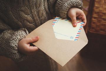 child letter Santa Claus festive gift envelope