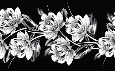 Seamless monochrome floral border