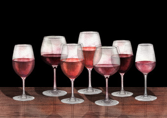 Watercolor row of red wine glasses on the wooden table