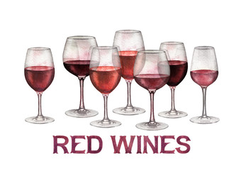 Watercolor row of red wine glasses isolated on white background