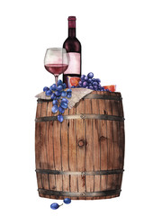 Watercolor glass of red wine, bottle, grapes and figs on the wooden barrel