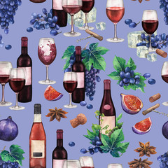 Watercolor red wine glasses and bottles decorated with delicious food