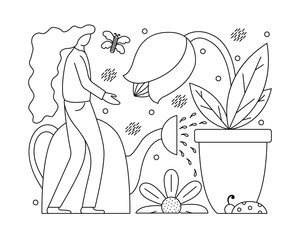 Vector illustration with a flat girl taking care of plants. Gardening in the lines..
