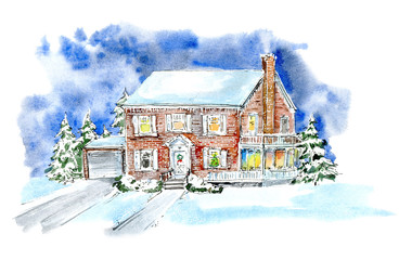 Landscape with cottage in winter.House and christmas trees.Watercolor hand drawn illustration.