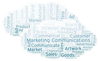 Word cloud with text Marketing Communications.