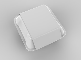 Blank disposable food packaging. 3d render illustration.