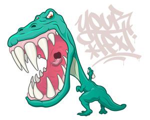 T-Rex dinosaur writing graffiti
