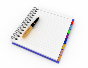 Office notepad with pen