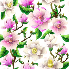 Delicate seamless pattern with magnolia flowers on a white background. Vector illustration.