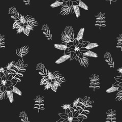 Seamless pattern with  Christmas  flowers painted chalk on blackboard. Vector.
