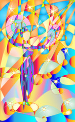 Fresco, stained glass Woman, girl performing a traditional fan dance. Tropical parrots was her audience. Pied colors. Vector background