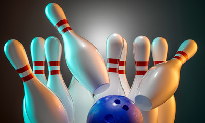 Wall Mural - 3d bowling background