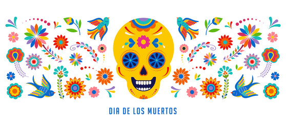 Day of the dead, Dia de los muertos background, banner and greeting card concept with sugar skull.