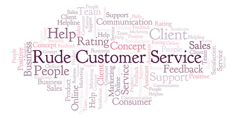 Rude Customer Service word cloud.